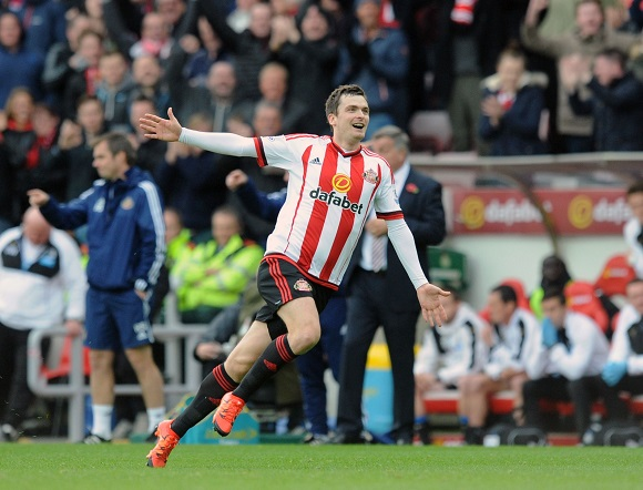 Adam Johnson of Sunderland celebrates scoring their first goal during the Barclays Premier League match between Sunderland and Newcastle United played at Stadium of Light, Sunderland, on the 25th October 2015