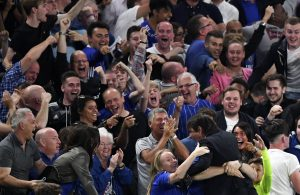 Chelsea fans celebrate the winning goal with Chelsea Manager Antonio Conte during the Premier League match between Chelsea and West Ham United played at Stamford Bridge, London on 15th August 2016